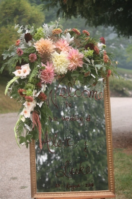 champagne, green and blackberry mirror florals