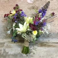 whites, blues, burgandy bridal bouquet