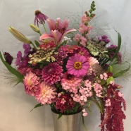 all pink mix bridal bouquet sample