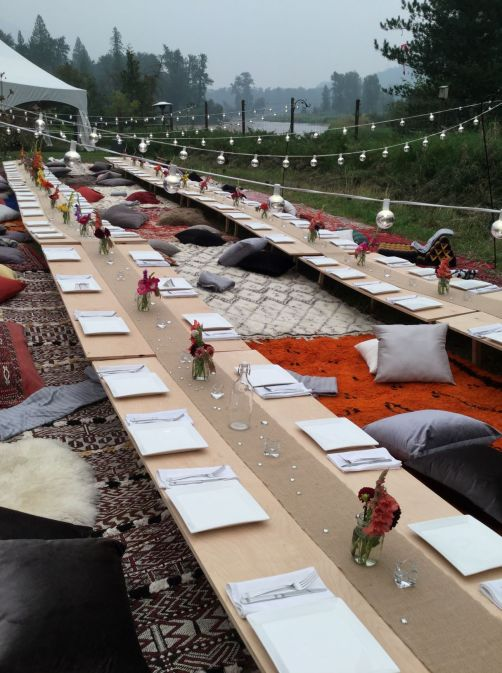 Boho ground seating for wedding